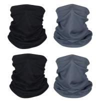 4 Pcs Sun UV Protection Neck Gaiter Magic Face Cover Scarf for Mask Dust Wind Bandana Balaclava Headwear