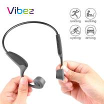 Vibez Bone Conduction Headphones Portable Open Ear Headset Wireless Bluetooth 5.0 Connectivity Sweat Resistant Sports Earphones with Microphone Volume Control for Running Hiking Driving Bicycling Grey