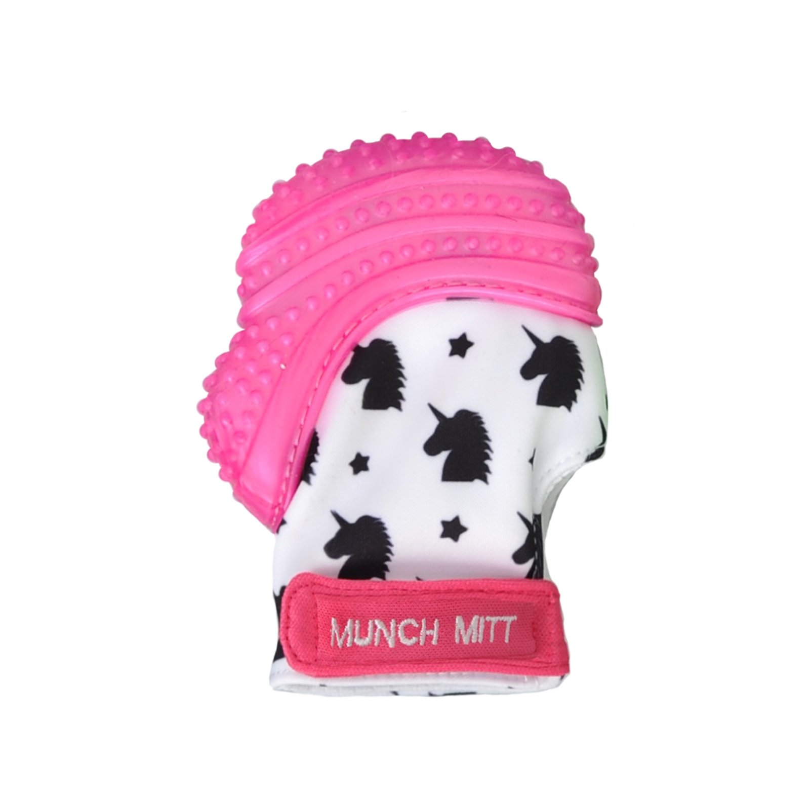Malarkey Kids Munch Mitt Teething Mitten - The ORIGINAL Mom-Invented Silicone Teether Mitten with Travel Bag – Ideal Teething Toys for Baby Shower Gift  - Pink Unicorn