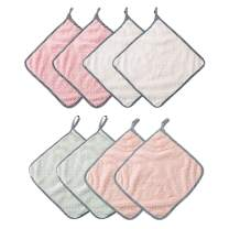Caudblor 8 Pack Kitchen Towles Cleaning Cloth Hangable Coral Velvet Rags Washing Dish Cloths,Microfiber Super Absorbent Dish Towels,11 in x 10 in