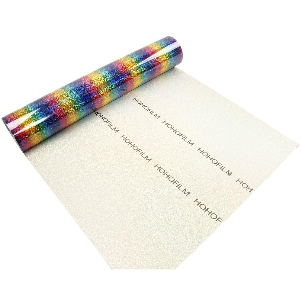 "HOHOFILM 20""x12"" Rainbow Color Heat Transfer Vinyl Holographic Stripe Multi Iron-on HTV Adhesive Paper Sheet for Garment T-Shirt DIY"