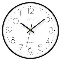 Foxtop 12 inch Black Wall Clock Silent Non-Ticking Quality Quartz Battery Operated Round Easy to Read Clock for Home Office School Classroom (Sturdy Aluminum Frame)