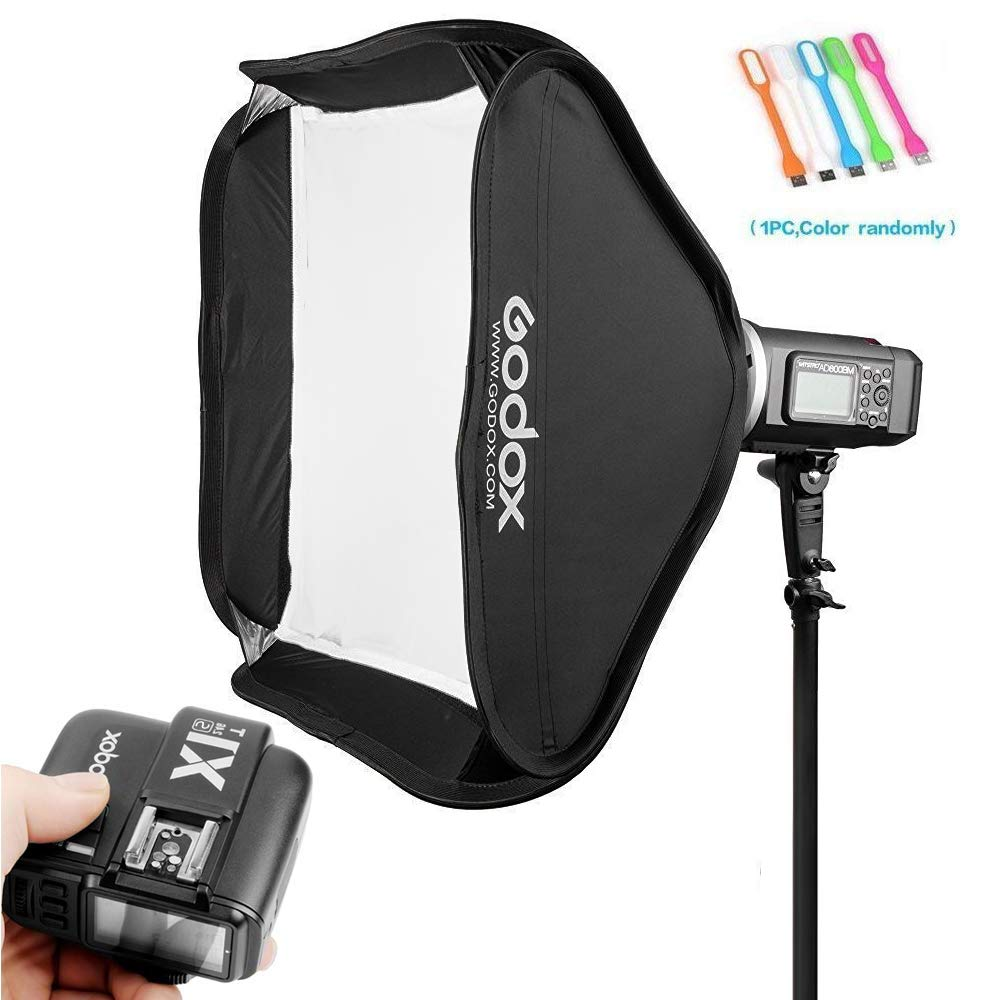 Godox AD600BM Bowens Mount 600Ws GN87 HSS Outdoor Flash Strobe Light Studio Monolight with X1T-S Wireless Trigger Transmitter with 80x80cm/32x32 inches Softbox Compatible for Sony Cameras