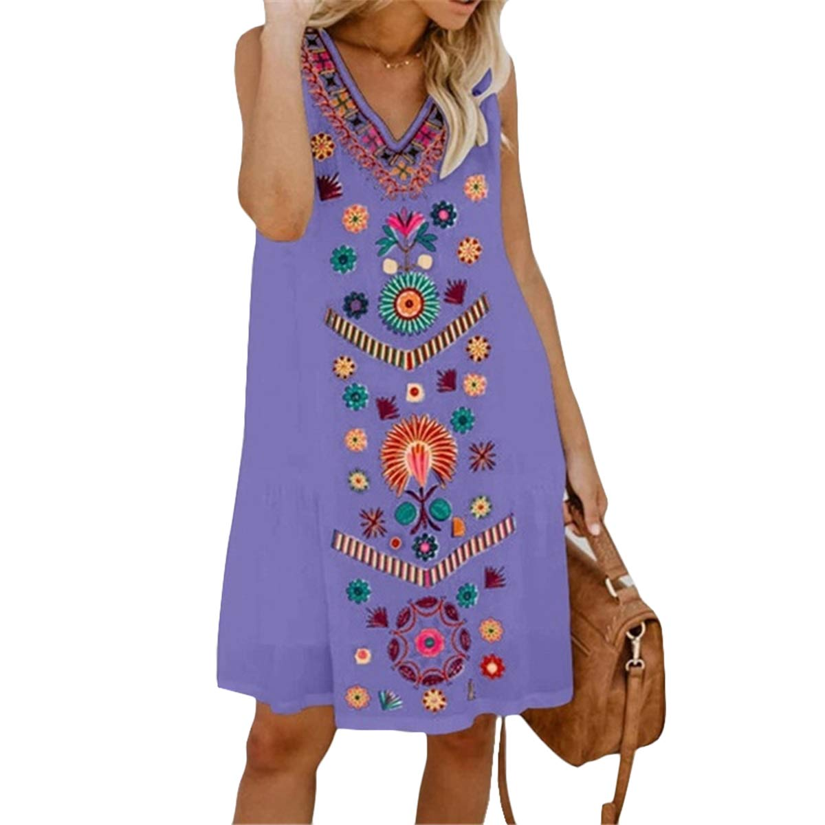 AELSON Womens Summer Casual V Neck Sleeveless Tank Tops Printed Floral A Line Short Dress Purple