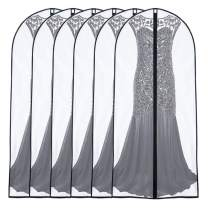 UOUEHRA Garment Bags for Storage 24'' x 60 '' (Set of 6) Foldable Washable Dress Bags for Long Dress Dance Costumes Suits Gowns Coats [Upgraded Version]