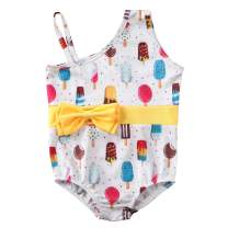 Pudcoco Kids Toddler Baby Girls One-Piece Swimsuit Sling Off Shoulder Bowknot Bathing Suit Swimwear