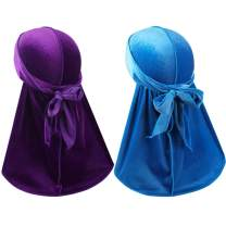 Velvet Men Durag –Premium Durag Cap Headwraps (2PCS) with Extra Long Tail and Wide Straps for 360 Waves