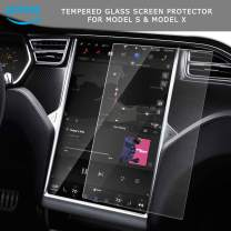CoolKo Central Control Navigation Tempered Glass Film Compatible with Model S & X [Main Screen - Dull Polish]
