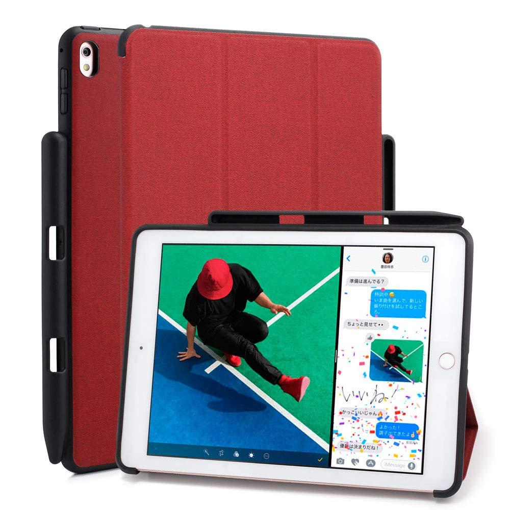 """Maxace iPad Air (3rd Gen) 10.5"""" 2019 / iPad Pro 10.5"""" 2017 Case with Pencil Holder, Ultra Lightweight Shockproof Stand Protective Cover Shell with Auto Wake/Sleep - Red"""