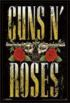 "Trends International Guns N' Roses - Stacked Logo, 22.375"" x 34"", Black Framed Version"