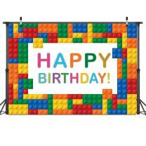 Dudaacvt 7x5ft Happy Birthday Party Colorful Building Blocks Chips Backdrop Home Decor CelebrationColorful Birthday Party Decoration Banner for Boy Girl D-425