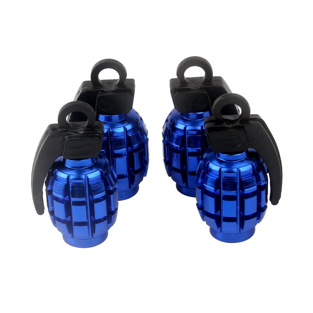 Senzeal 4X Aluminum Grenade Bomb Style Universal Car Truck Motocycle Wheel Tyre Valve Caps Bicycle Tire Air Valve Cover Blue