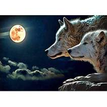 DIY 5D Diamond Painting Full Round Drill Kit Rhinestone Picture Art Craft for Home Wall Decor 12x16In Wolf Under The Moon