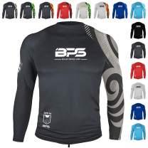 BPS Men's UPF 50+ Short Sleeve and Long Sleeve Swim Shirt/Rash Guard with Sun Protection