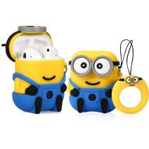 Lupct (Two Eye& One Eye Minions) Case for Airpods 1/2 Cute Soft Silicone,Cartoon 3D Fun Animal Pattern Cover for Girls Kids Teens Character Design Airpod Funny Cases for Air pods (2 Pack)