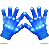 Yostyle LED Gloves, Children LED Light Up Glow Skeleton Gloves for Novelty, Halloween,Dance Costume,Kids Games,Light-up Party Concert Gifts,Dark Party Favor Sensory Glow Toys