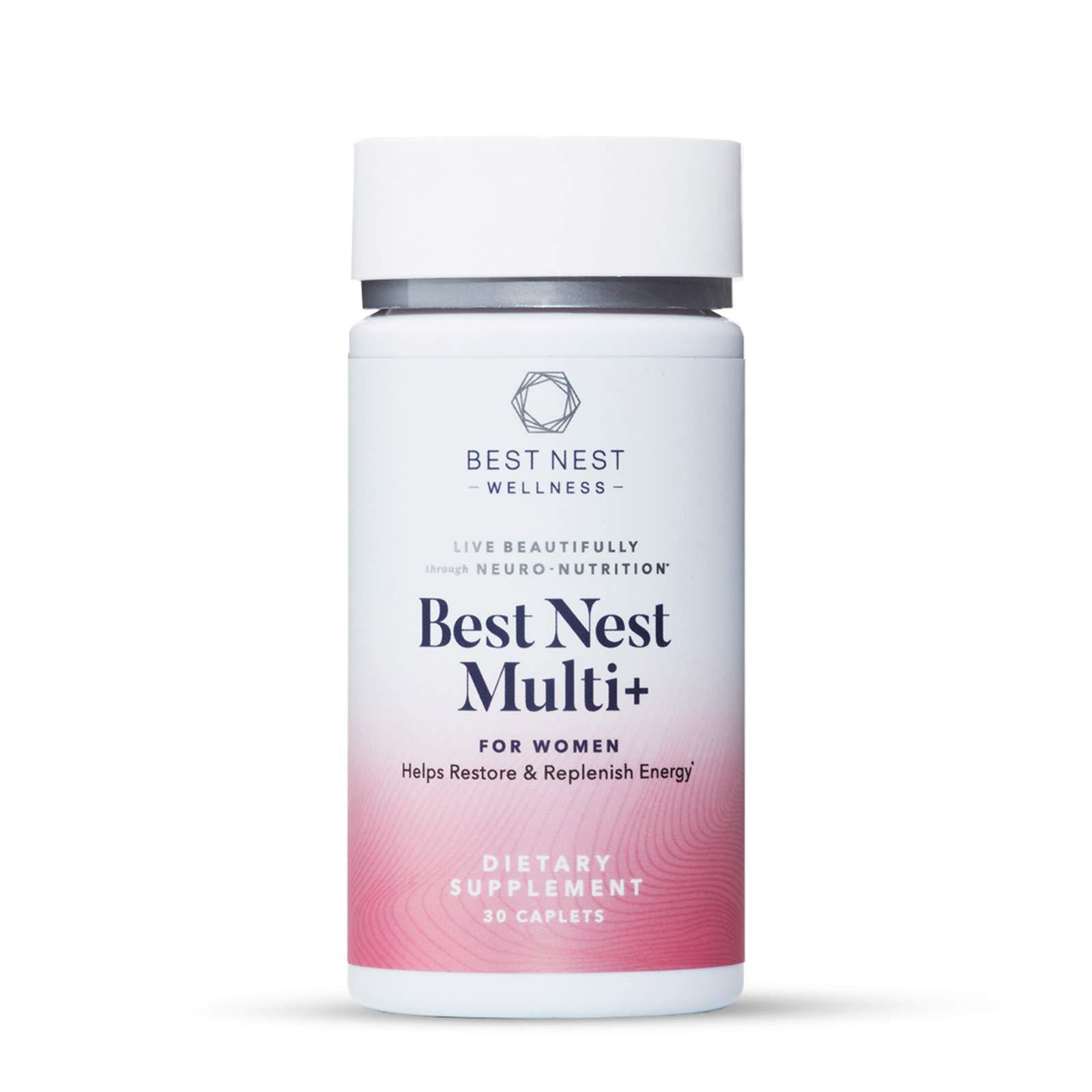 Best Nest Women's Multi+, Methylfolate, Methylcobalamin (B12), Vegan Multivitamins, Probiotics, Natural Whole Food Organic Blend, Once Daily Multivitamin, Immune Support, 30 Ct, Best Nest Wellness