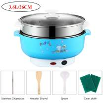 110V Electric Skillet Rice Cooker 4-In-1 Mini Heating Pan Non-Stick Electric Hot Pot with Lid for Cook Rice Fried Noodles Stew Soup Steamed Fish Boiled Fried Hot Dog Steak (3.6L with Steamer, Blue)