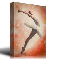 wall26 - Orange Watercolor Vignette Around a Ballerina - Canvas Art Home Decor - 24x36 inches