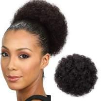 Short Kinky Curly Drawstring Short Ponytail Kanekalon Synthetic Hair Bun Up Donut Chignon Color Scrunchie Wig Hair Extensions(#2)