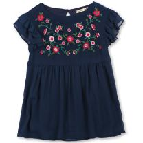 Speechless Girls' Big Flutter Sleeve Embroidered Top