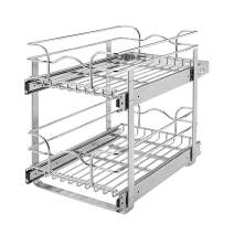 Rev-A-Shelf 5WB2-1522-CR 15 x 22 Inch Two-Tier Kitchen Organization Cabinet Pull Out Storage Wire Basket, Chrome
