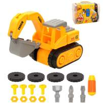 Miunana DIY Take Apart Construction Truck Car Toddlers Toys, Constructions Vehicles Set with Screwdriver STEM Educational Toys Gift for Girls & Boys