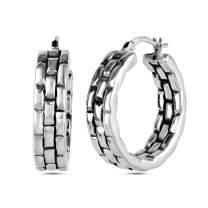 LeCalla Sterling Silver Jewelry Light Weight Antique Hoop Earrings for Women