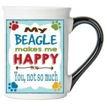 Cottage Creek Dog Mug Large 18 Ounce Ceramic My Beagle Makes Me Happy Coffee Mug/Beagle Mug Beagle Gifts [White]