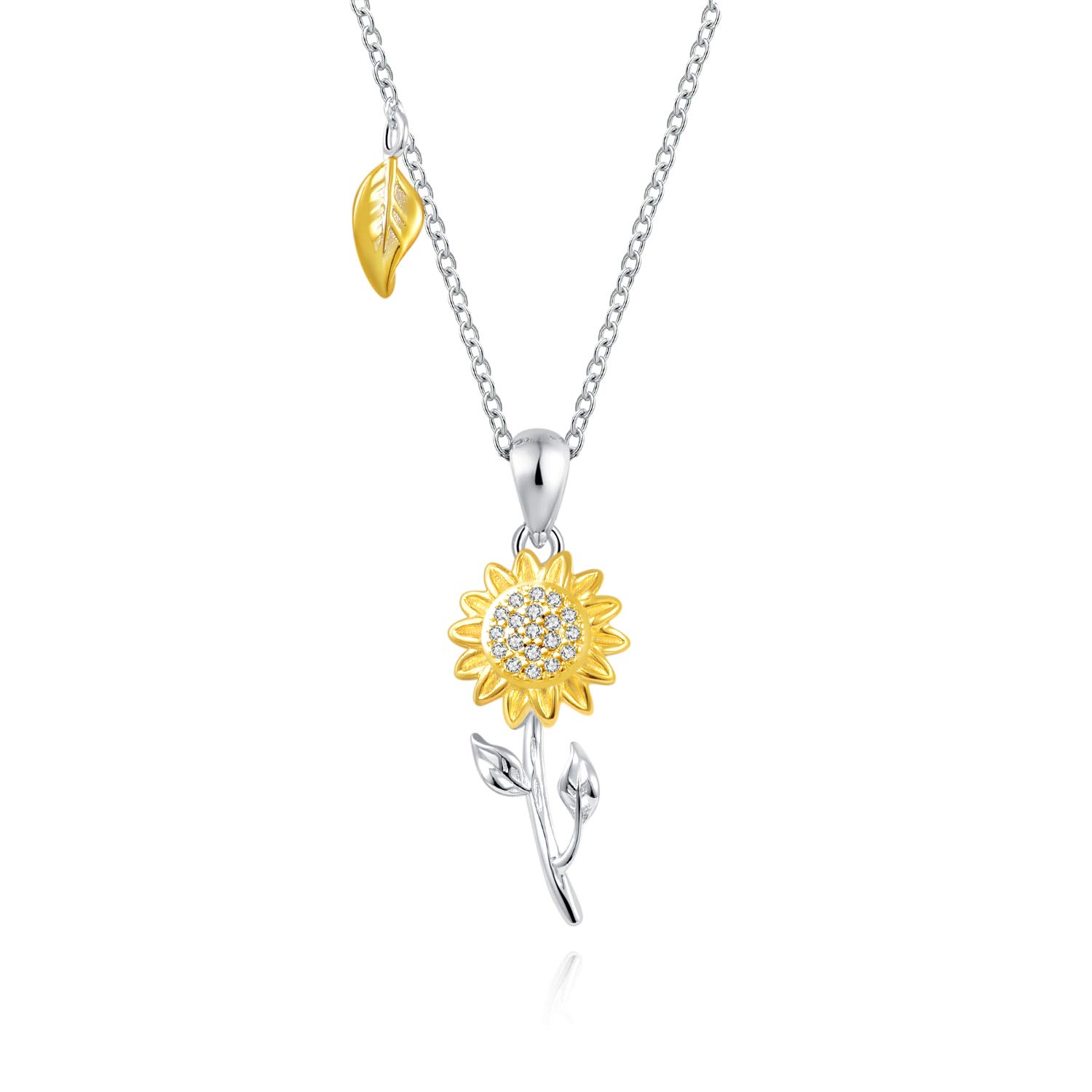 925 Sterling Silver Heart Sunflower Necklace Gold You are my Sunshine Pendant Jewelry Gift for Girlfriend Mom Daughter Sister