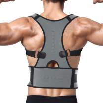 FITTOO Back Brace Posture Corrector with Magnetic Therapy, Fully Adjustable Back Support Belt Improves Posture and Provides Lumbar Support for Men & Women