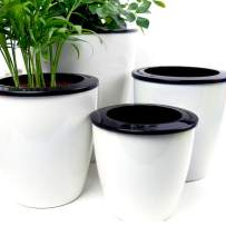 Mkono 3 Pack Self Watering Planter African Violet Pots Plastic White Flower Plant Pot with Wick Rope for All House Plants, Flowers, Herbs, L