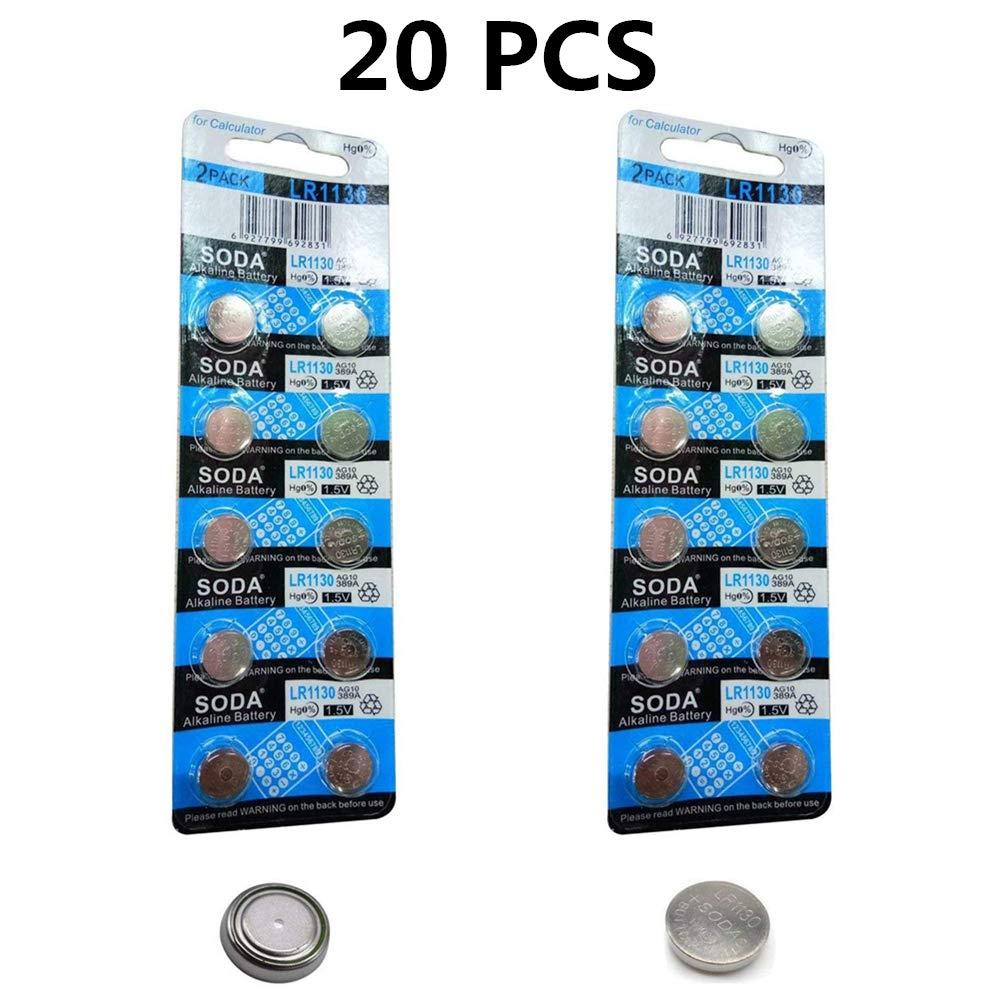 DoDoLightness Battery Alkaline LR1130 AG10 Button Cell Batteries 1.5V Button Battery 20PCS