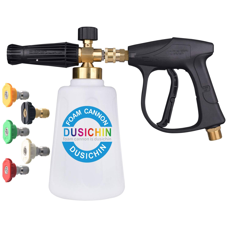 DUSICHIN DUS-118 Foam Cannon Lance Pressure Washer Nozzle Tip Snow Soap Spray Gun Jet Wash Larger Container 100Oz Higher Flow Rate