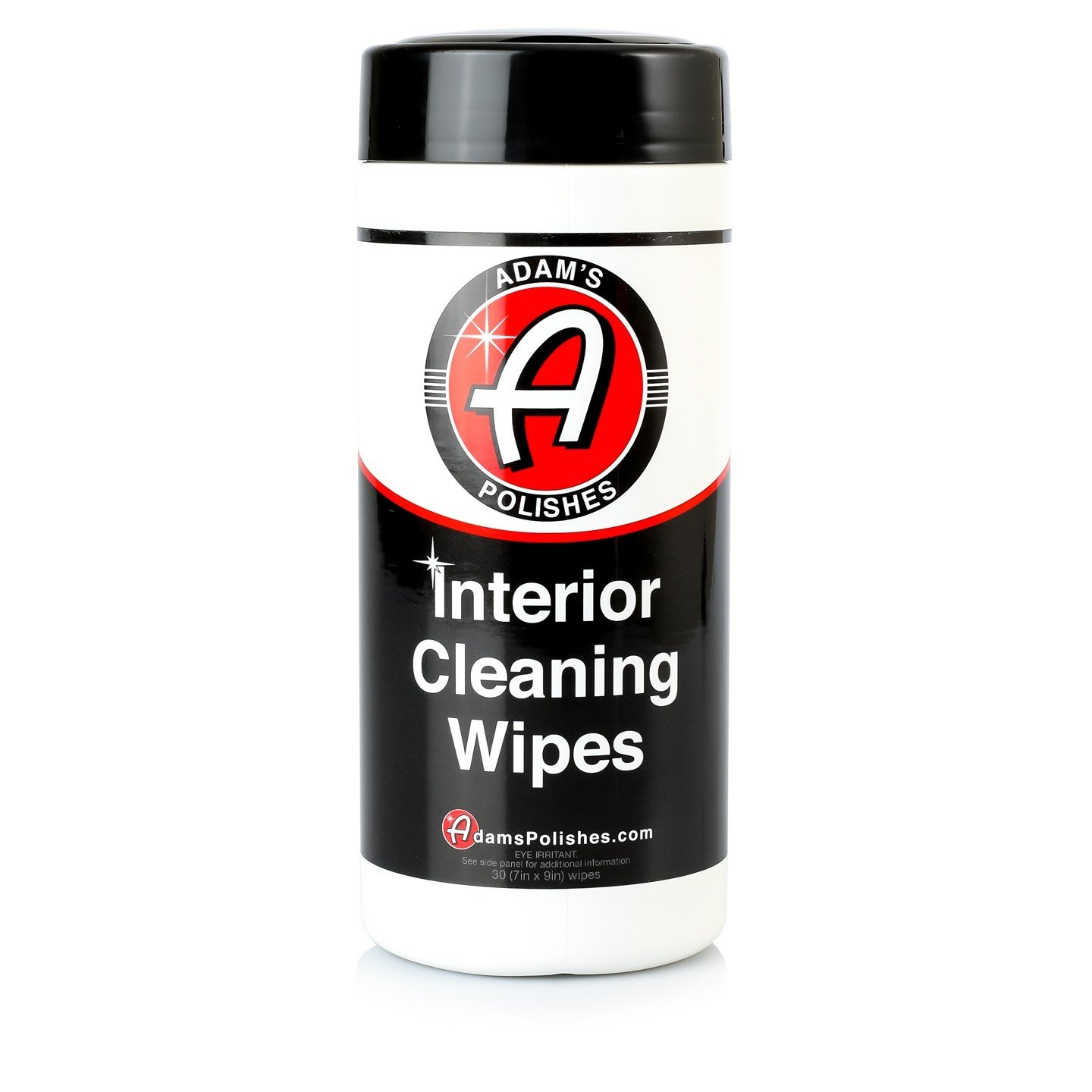 Adam's Interior Cleaning Wipes 30 (7 x 9 inch) Wipes - Powerful Cleaner Removes Embedded Dirt - Great for Leather and Vinyl Steering Wheels, Door Panels, Dashboards, Plastic, and Other Vinyl (1 Pack)