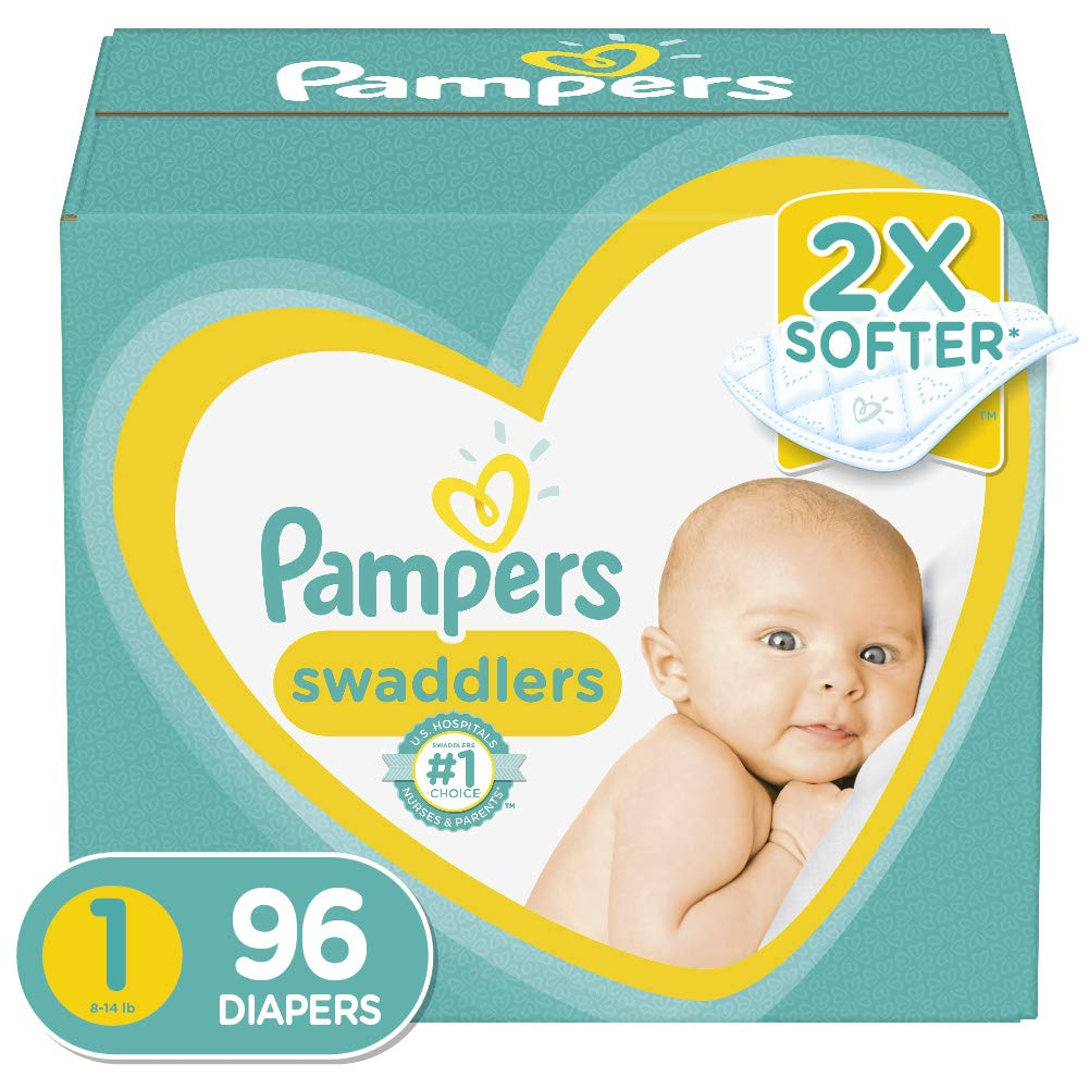 Diapers Newborn/Size 1 (8-14 lb), 96 Count - Pampers Swaddlers Disposable Baby Diapers, Super Pack