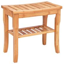 Giantex Bamboo Shower Bench Seat with Storage Shelf, Shower Spa Chair Seat Bench Organizer Stool for Indoor or Outdoor