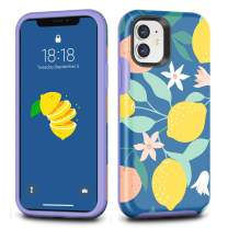 CAFEWICH iPhone 11 Case, Hybrid Shockproof Hard PC+ Soft TPE Flexible Rubber Drop Protection, Cute Pretty Stylish Slim Protective Cover for 2019 iPhone 11 6.1 Inch-Lemon Leaves