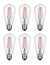 Vintage LED Edison Bulbs, Dimmable 4W ST64/ST19, 2200K Warm White Lighting for Decoration, Antique LED Light Bulbs, E26 Medium Base, Squirrel Cage Filament Bulbs, Clear Glass, Harwez, 6 Pack