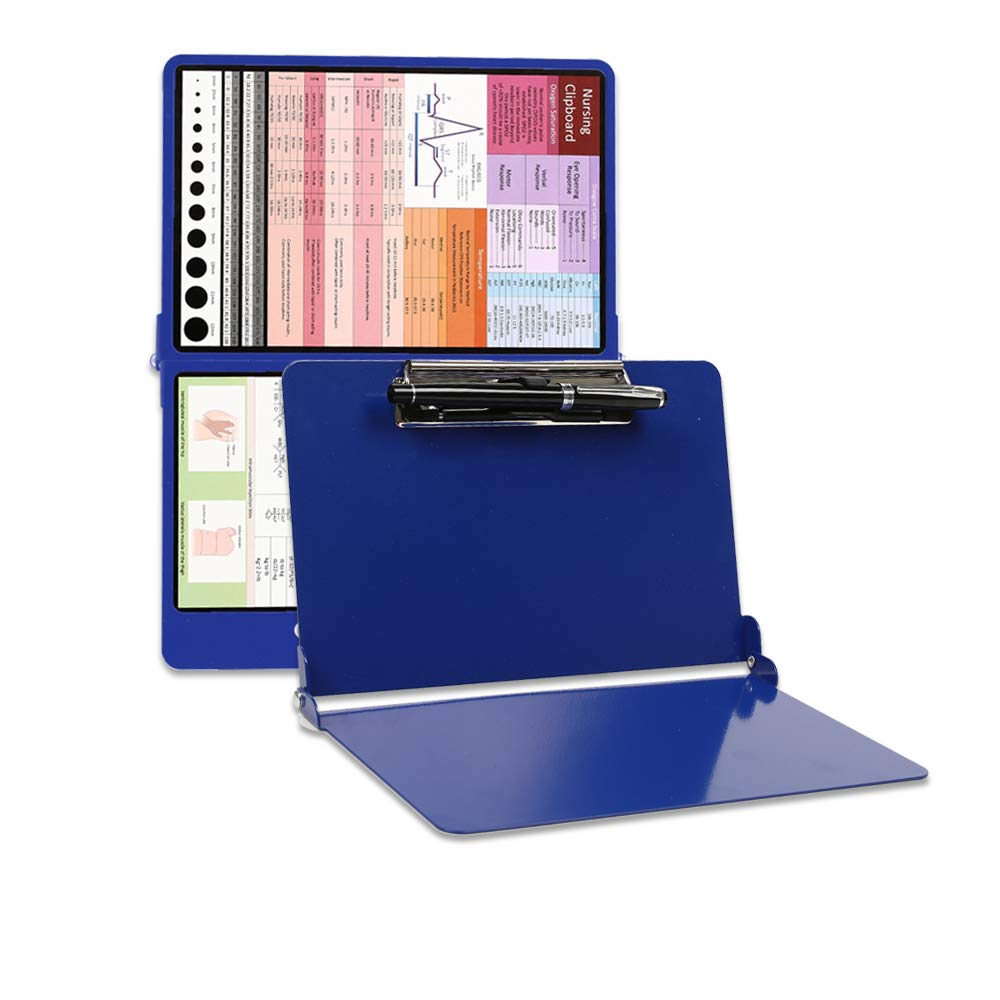 Durable Aluminum Medical & Nursing Edition Clipboard Foldable, Lightweight, Perfect Size for Scrub Pocket, for Medical Student/Nurse/Doctor, Extra 4 Stickers & Pen Holder for Easy Check & Use (Blue)