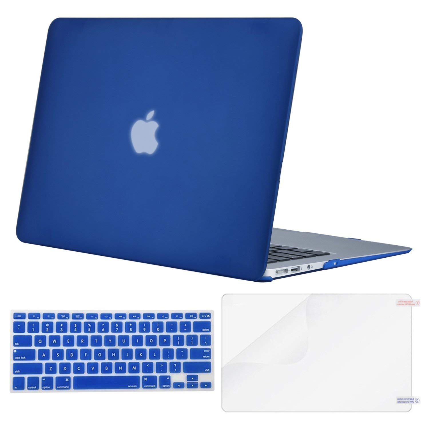 MOSISO Plastic Hard Shell Case & Keyboard Cover & Screen Protector Only Compatible with MacBook Air 13 inch (Models: A1369 & A1466, Older Version 2010-2017 Release), Royal Blue