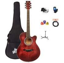 WINZZ 40 Inches Cutaway Acoustic Guitar Beginner Starter Bundle with Padded Bag, Stand, Tuner, Pickup, Strap, Picks, Red