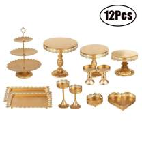 FEOOWV Set of 12 Pieces Golden Cake Stand and Pastry Trays Metal Cupcake Holder Fruits Dessert Display Plate for Wedding Birthday Christmas Party Celebration (Gold)