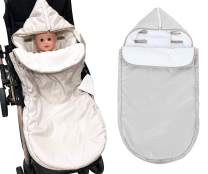 KAKIBLIN Baby Stroller Sleeping Bag, Waterproof Infant Stroller Footmuff Cover Keep Warm and Detachable Anti-Kicking Sleeping Canopy for 0-18 Months Baby Girls Boys(Gray)