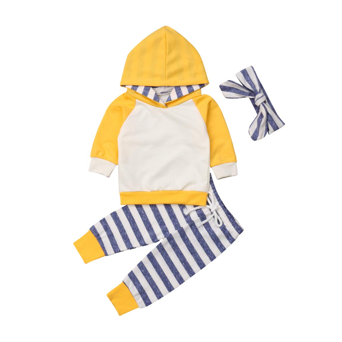 Baby Boys Girls Clothes Long Sleeve Hoodie Tops Sweatsuit Pants Headband Outfits Set 0-24 Months