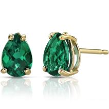 14K Yellow Gold Pear Shape 1.25 Carats Created Emerald Stud Earrings