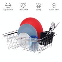 Expandable Dish Drying Rack, Dailyart Adjustable Dish Drainer for Kitchen Sink, Over the Sink Dish Rack, In Sink or on Counter, Sink Rack with Black Utensil Holder, Stainless steel Rustproof