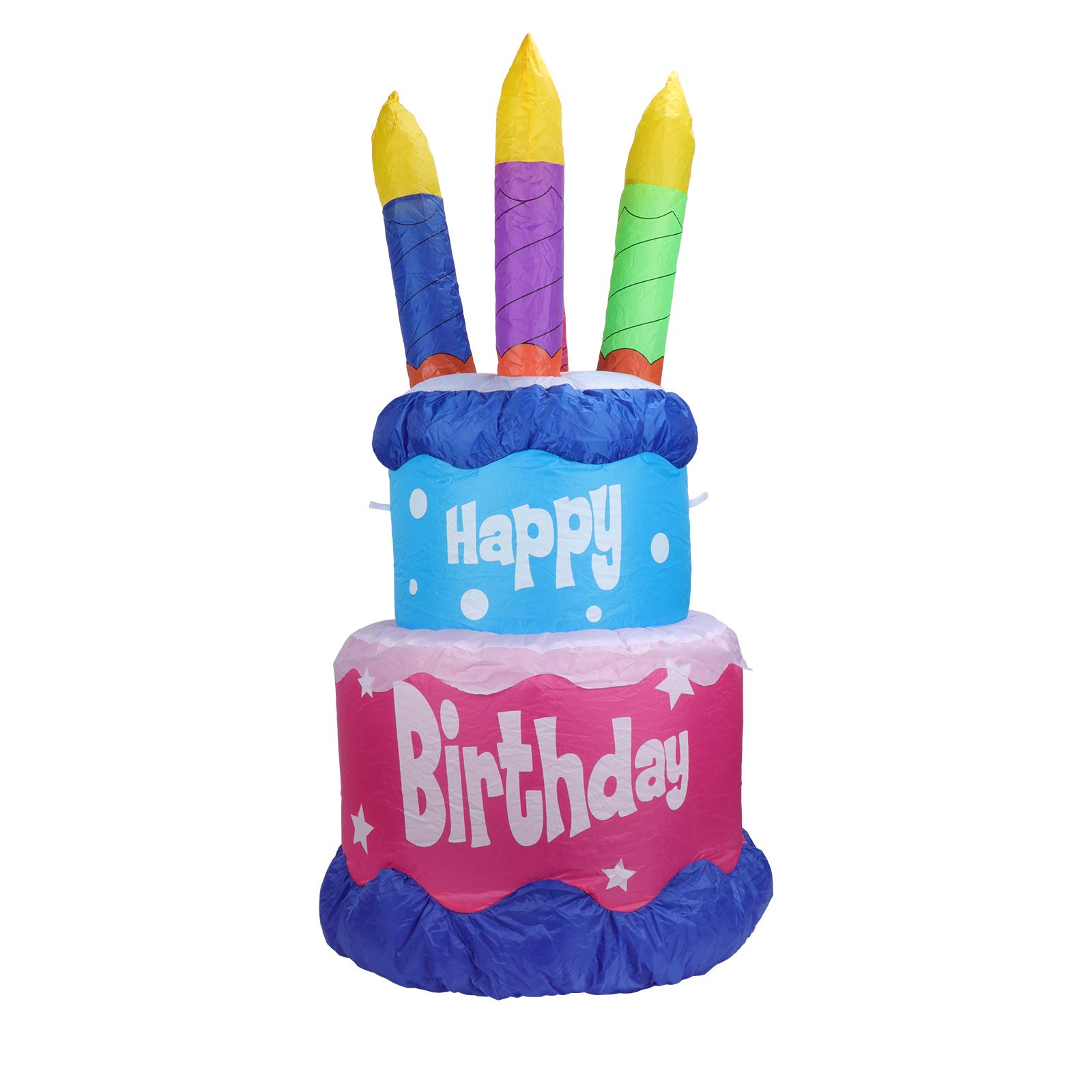 Afirst 4FT Inflatable Birthday Cake - with LED Lights Happy Birthday Gift Blow Up Holiday Decoration for Indoor Outdoor Lawn Yard Home