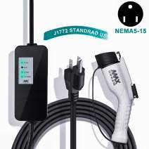 MAX GREEN Level 1 EV Charger, Electric Vehicle Charger (16A,110V 25FT) with NEMA5-15 Plug, Fast EV Home Charging Station, Compatible with Chevy Volt, Prius Prime, Fusion Energi
