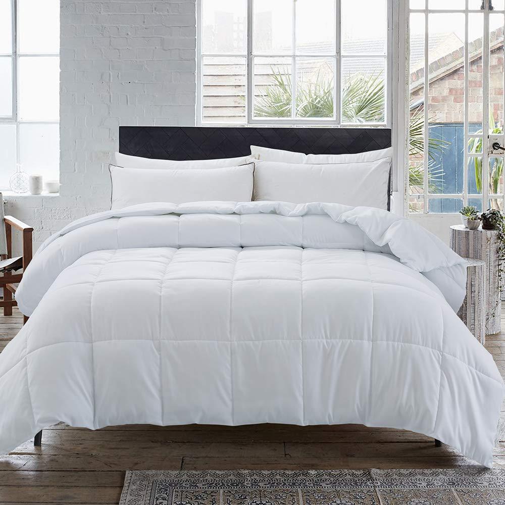 Cosybay Down Alternative Comforter- White Corner Duvet Tabs- Lightweight All Season Duvet Insert-Stand Alone Comforter – Cal-King Size(104×96 Inch)